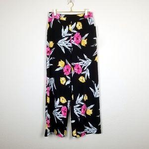 NWT Wide Leg Black Floral Print Pants